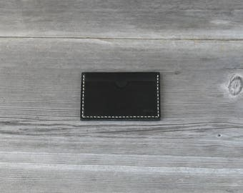 Leather Stacked Card Case // Black