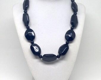 Vintage Estate Black Chain Beaded Estate Silver Tone Necklace