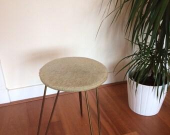 Mid century hairpin stool / vintage / retro / hairpin paws / furry / brass