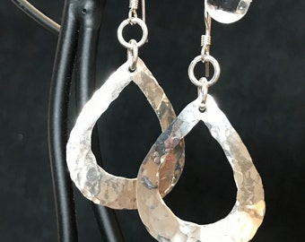 Earrings, Sterling silver hammered teardrop earrings
