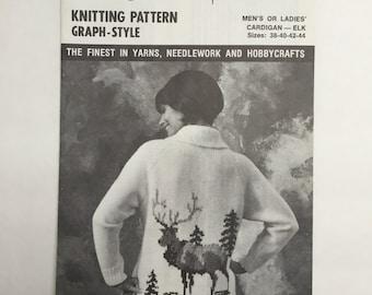 Mary Maxim Vintage Graph-Style Knitting Pattern 4036 Men's or Ladies' Cardigan - Elk Sizes 38-40-42-44