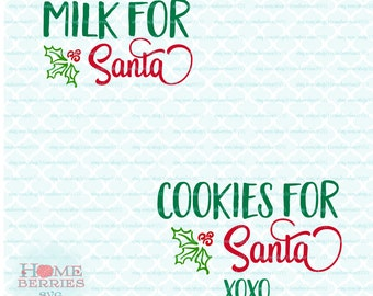 Customizable Cookies For Santa & Milk For Santa SVGs svg dxf eps jpg ai files for Cricut Silhouette and other cutting machines