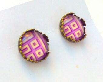 Purple, geometric earrings, purple earrings, purple stud earrings, studs earrings, purple cabochon earrings, studs, studs earrings, stud  #5