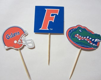 Cupcake toppers, party supplies, Florida Gators, football, sports