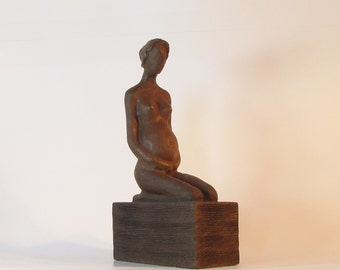 Pregnant Woman,Expecting Lady,Mother,Modern Sculpture On Wooden Base.Mom to be,Gift for Pregnant friend
