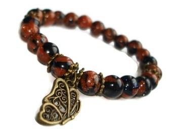 Vintage bracelet with antique butterfly jewelry vintage style brown bronze bracelet jewelry jewels terracotta jewellery goldstone bracelet