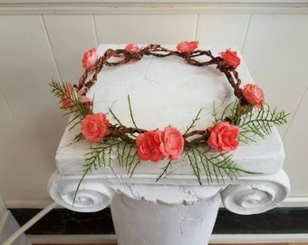 Coral and Fern Flower Crown