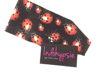 Ladybug Headband, Black Headbands with Ladybugs, Fitness Headbands, Sweatbands, Ladybugs, Yoga, Running, Fitness, Fashion