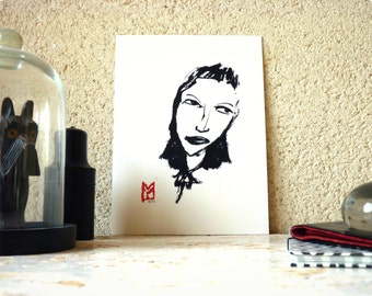 Drawing ink - Portrait of a woman - limited Digital Edition / signed / numbered
