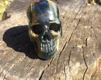 Natural Blue Tigers Eye Crystal Skull