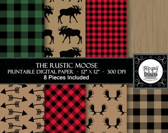 8 Digital Paper Backgrounds - Rustic Moose - Lumberjack Buffalo Plaid - Instant Download - Printable or Digital Paper #26