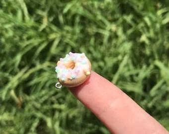 Polymer Clay rainbow - Confetti Donut Charm