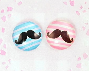 10% OFF SALE 6 x Moustache Movember Pink Blue 20mm Round Glass Cabochons Kawaii Kitsch Deco