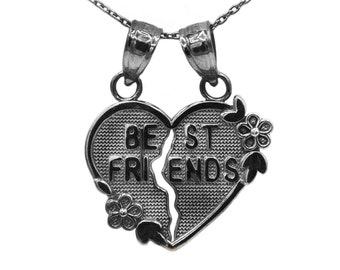 10k Black Gold Best Friends Heart Necklace