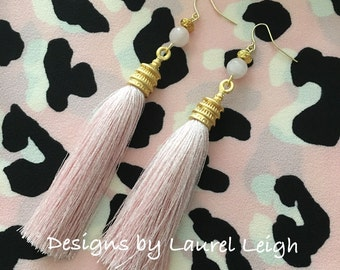 SALE | PINK Pagoda Tassel Earrings - chinoiserie, Chinese, Asian, GOLD, silk, light pink, pale pink, blush