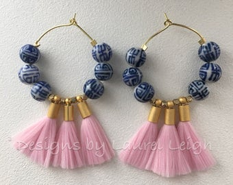 Chinoiserie Tassel Hoop Earrings - PALE PINK, blue and white, royal blue, porcelain, pink, gold, Chinese, light pink