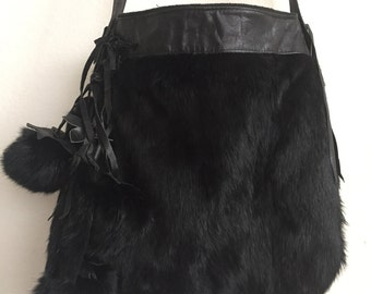 Black crossbody women's handbag, from real rabbit fur and leather, fluffy fur, decorated with fur bubo, vintage style handbag, size-medium