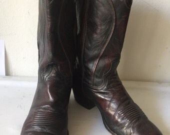 Dark brown men's boots from real leather, with pattern vintage style western boots cowboy boots old boots retro boots men's size - 10 D.