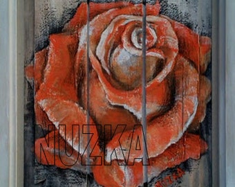 Orange Rose, Flower, Original Painting on Wood, Original Art