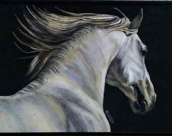 White Horse, White Stallion, Black and White, Original Painting, Original Art