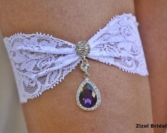 Purple Garter, White Garter Set, White Lace Garter, Rhinestone garter, Vintage Garter Set, Purple Garter Set, Garter Set White, Deep Purple