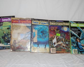 5 Fantasy & Science Fiction Magazines - Pulp Fiction Paperback - 1980s