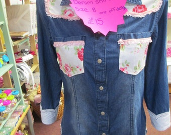 Upcycled Floral design Womens Denim shirt size 8.
