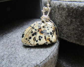 Dalmation Jasper Wire wrapped Pendant