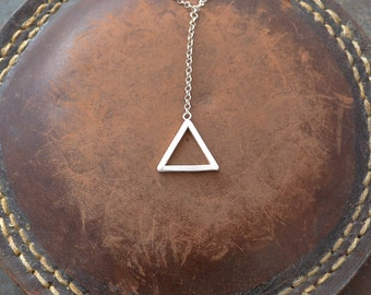 Sterling silver triangle drop necklace- handmade
