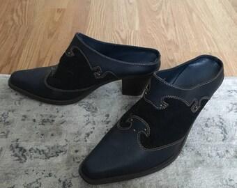 Vintage Blue + Black Western Mules