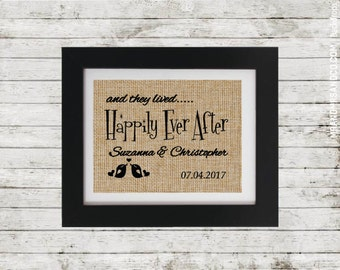 Happily Ever After Sign - Personalized Couples Gift - Wedding Shower Gift - Anniversary Gift - Personalized Wedding Gift - Wedding Decor