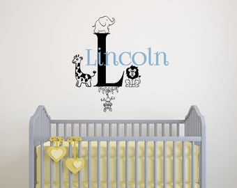 Zoo Animals Wall Decal - Baby Name Wall Decal