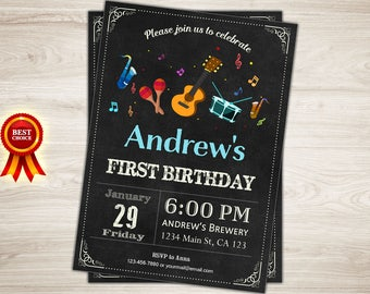 Music Birthday Invitation. Boy or girl Music Themed Birthday Party Photo Invitation. 1st 2nd 3rd 4th 5th 6th 7th Any ages. Printable Digital