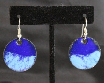 Blue on Blue Enameled Copper Earrings (022017-023)