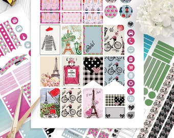 Paris  planner stickers Printable, HAPPY PLANNER STICKERS, Monthly/Weekly Kit,Printable Sampler, Happy planner Kit, Instant download