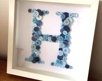 Personalised Handmade Button Initial Letter Frame, Baby or Kids Letter Wall Art