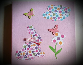 Canvas table for baby or child's room decoration
