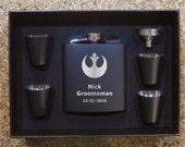 Star Wars Rebel Alliance Wedding Groomsman Black Flask Set Valentines Birthday Christmas Gift