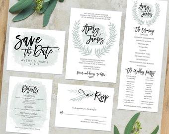 Printable Wedding Invitations | Printable Wedding Invites | Wedding Printables | Invitation Set