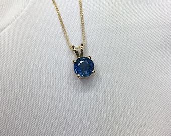 NATURAL 1.10ct VIVID Green Blue Sapphire Pendant 18k Gold Round Diamond Cut
