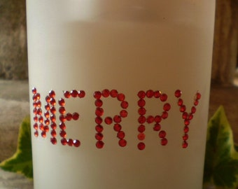 Austrian Crystal Merry Glass Christmas Candle Votive,45 hours burn time for candle,Then use as a Tea Lite Holder
