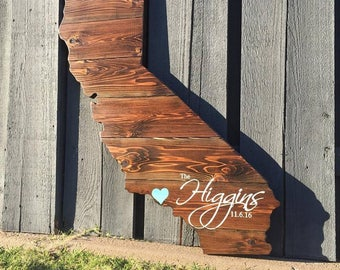 """Stained Wood California Sign   16"""", 24"""", 30"""", 36""""    Wall Art   State Flag Wood Guestbook Sign Shape Cutout   California Wood Guestbook"""
