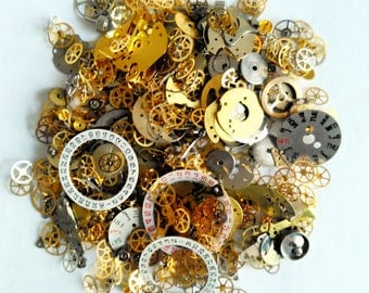 Steampunk Watch Parts 35g Vintage Gears Cogs Wheels Assorted Lot Industrial Aleterd Art Deco