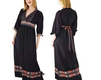 70s Black Border Print Maxi Dress-Empire Waist- S/M Sharon's World-Bohemian Chic Maxi- 1970s Rich Hippie Dress-B Altman-Sharon Rothfeld