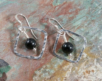 Black tourmaline and fine silver earrings