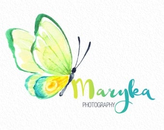 BOHO butterfly Photography full name hand drawn font Logo & matching Watermark- customizable premade