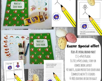 Kids A5 spiral bound plain paper notebooks, personalised cover!