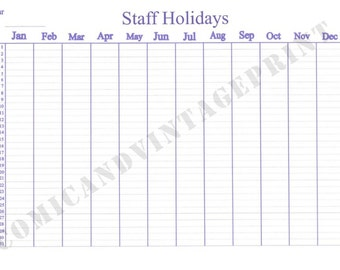 A3 Size Laminated Staff  Holiday Planner - Leave Planner Keeps track Of Who's on Leave and When Just Like a Holiday Calendar