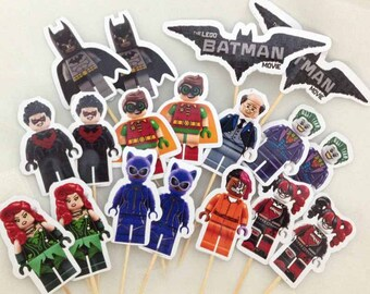 Custom Made Lego Batman and Friends Cupcake Toppers with Stick Topper Set of 18