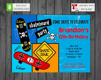 Printable invitation Skateboard in PDF with Editable Texts, Boy Skating party Invitation, edit and print yourself! Instant Download!